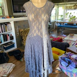 Grey lace low back sheer maxi dress size S